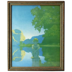 Art Deco Antique Print 'Evening' after Original by Maxfield Parrish, Framed