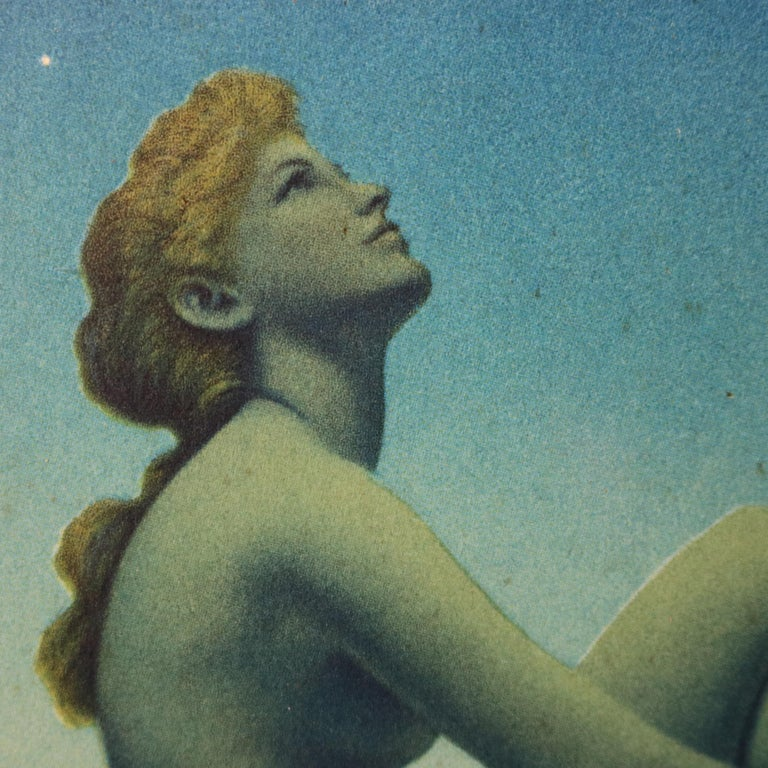 American Art Deco Antique Print 'Stars' after Original by Maxfield Parrish, Framed