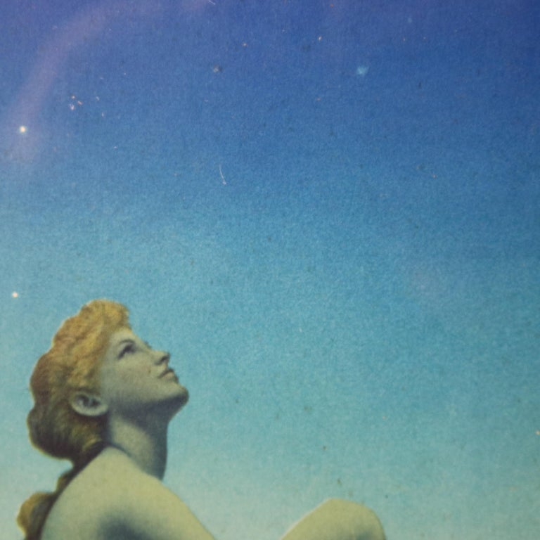 Carved Art Deco Antique Print 'Stars' after Original by Maxfield Parrish, Framed
