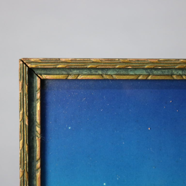 Art Deco Antique Print 'Stars' after Original by Maxfield Parrish, Framed In Good Condition In Big Flats, NY
