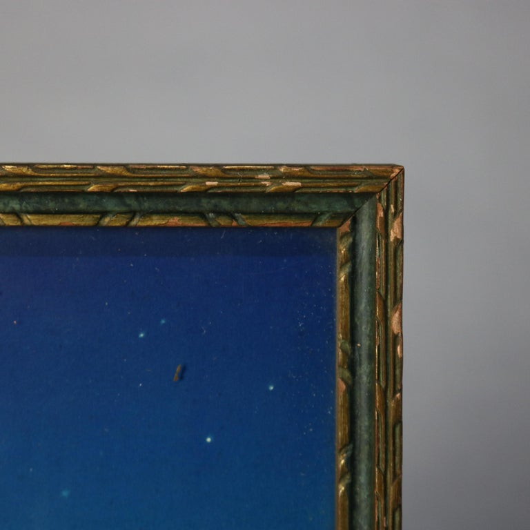 20th Century Art Deco Antique Print 'Stars' after Original by Maxfield Parrish, Framed