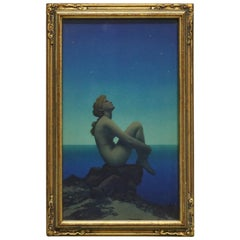 Art Deco Antique Print 'Stars' after Original by Maxfield Parrish, Framed