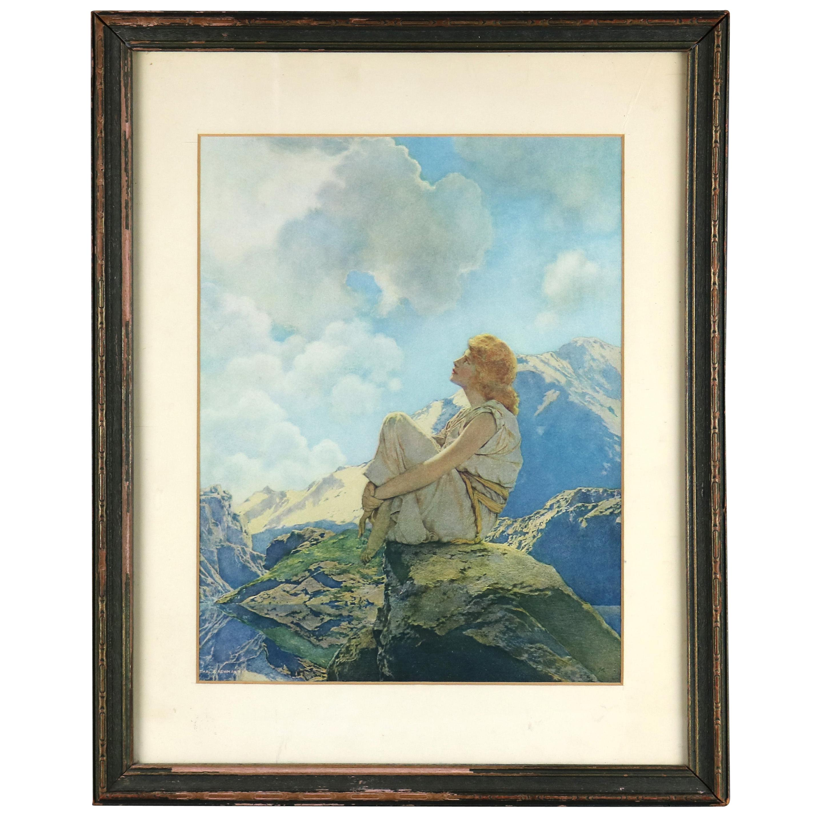 Art Deco Antique Print 'Morning' After Original by Maxfield Parrish, Framed
