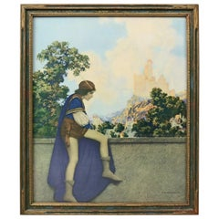 Art Deco Antique Print 'The Prince' after Original by Maxfield Parrish, Framed