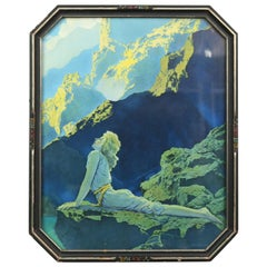 Art Deco Antique Print 'Wild Geese' after Original by Maxfield Parrish, Framed