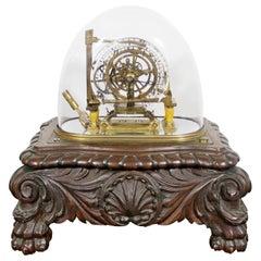Art Deco Antique Rare Skeleton Death Table Clock 19th Century with Original Dome