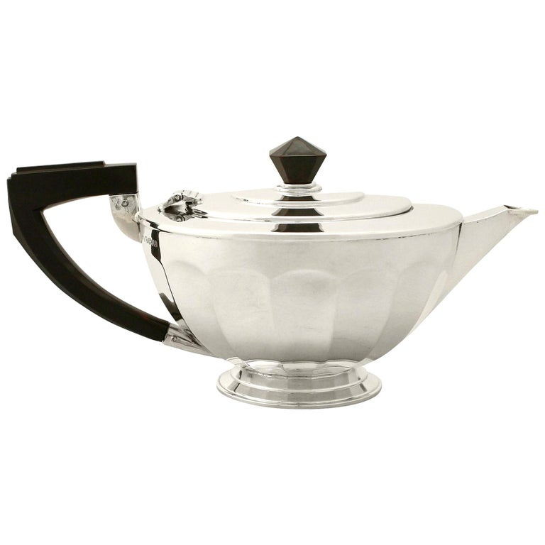 Art Deco Antique Sterling Silver Teapot For Sale
