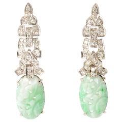 Art Deco Green Carved Jadeite 14 Karat White Gold Diamond Drop Earrings