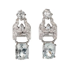 Art Deco Aqua Diamond Hinged Platinum Dangle Earrings