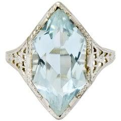 Art Deco Aquamarine 18 Karat White Gold Navette Dinner Ring