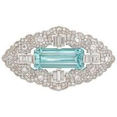 Art Deco Aquamarine and Diamond Brooch
