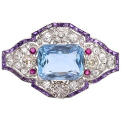 Art Deco Aquamarine and Diamond Brooch Pendant