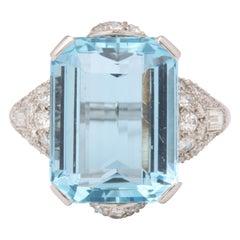 Art Deco Aquamarine and Diamond Ring