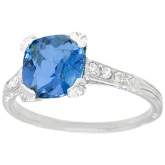 Art Deco Aquamarine and Diamond-Set Platinum Ring