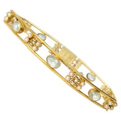 Art Deco Aquamarine and Pearl 15 Carat Gold Bracelet