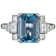 Art Deco Aquamarine Diamond 18 Carat White Gold 3.50 Carat Aqua Ring