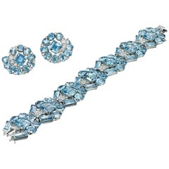 Art Deco Aquamarine & Diamond Bracelet and Ear Clips by Cartier, London, c 1935