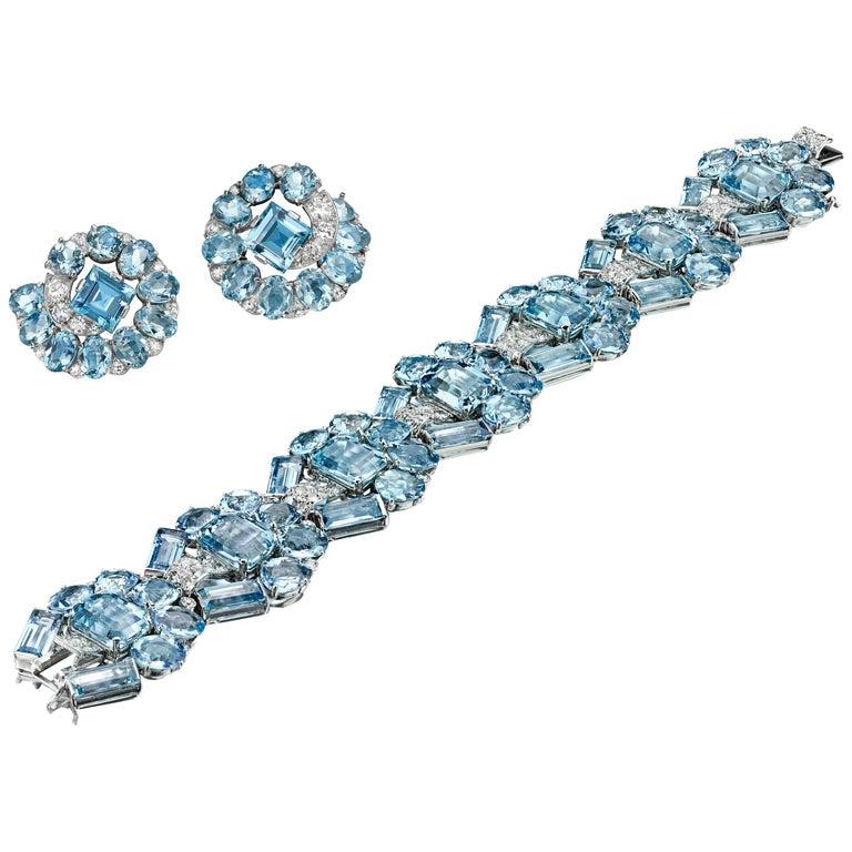 Art Deco Aquamarine & Diamond Bracelet and Ear Clips by Cartier, London, c 1935 For Sale