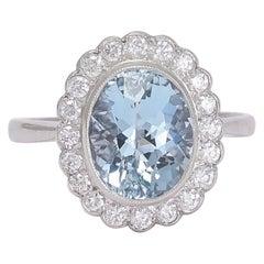 Art Deco Aquamarine Diamond Flower Cluster Ring