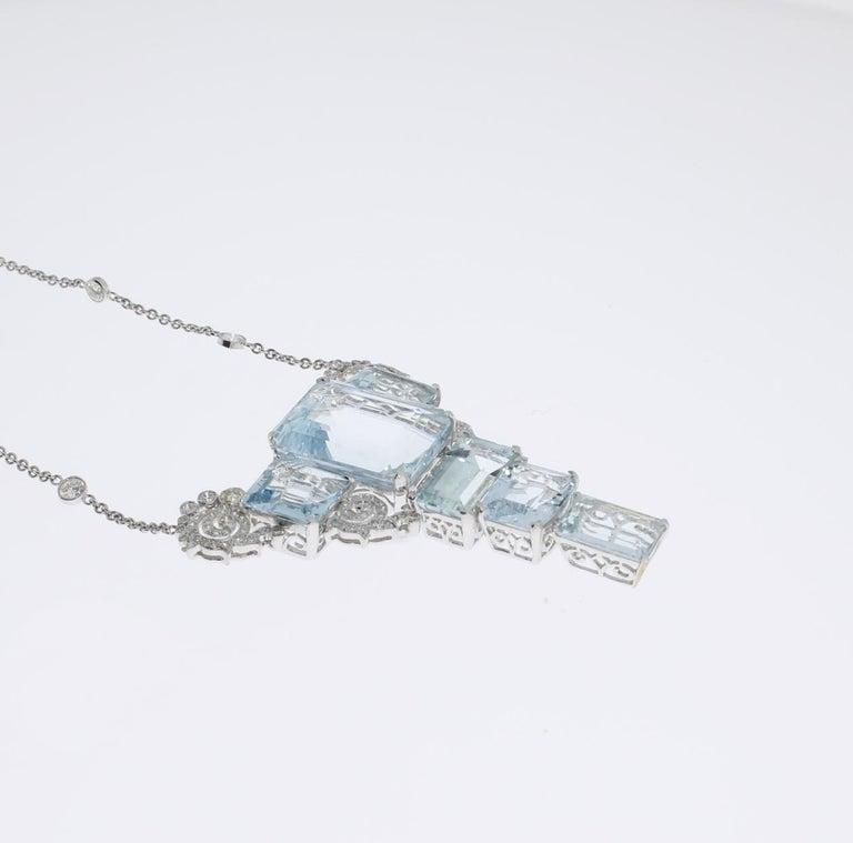 Women's Art Deco Aquamarine Diamond Gold Pendant Necklace For Sale