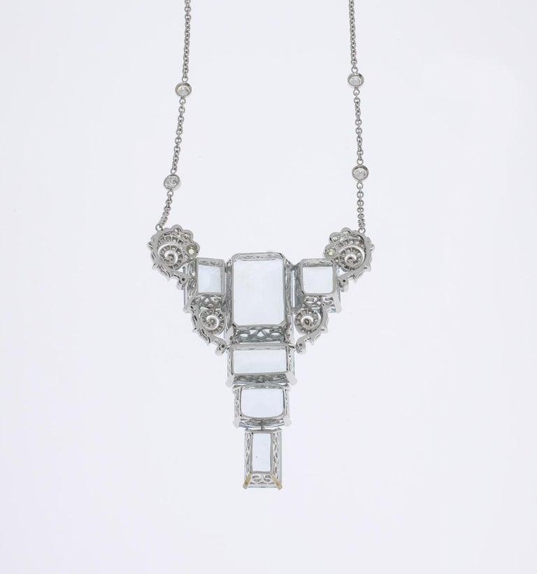 Art Deco Aquamarine Diamond Gold Pendant Necklace For Sale 2