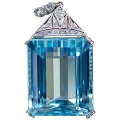 Art Deco Aquamarine Diamond Necklace