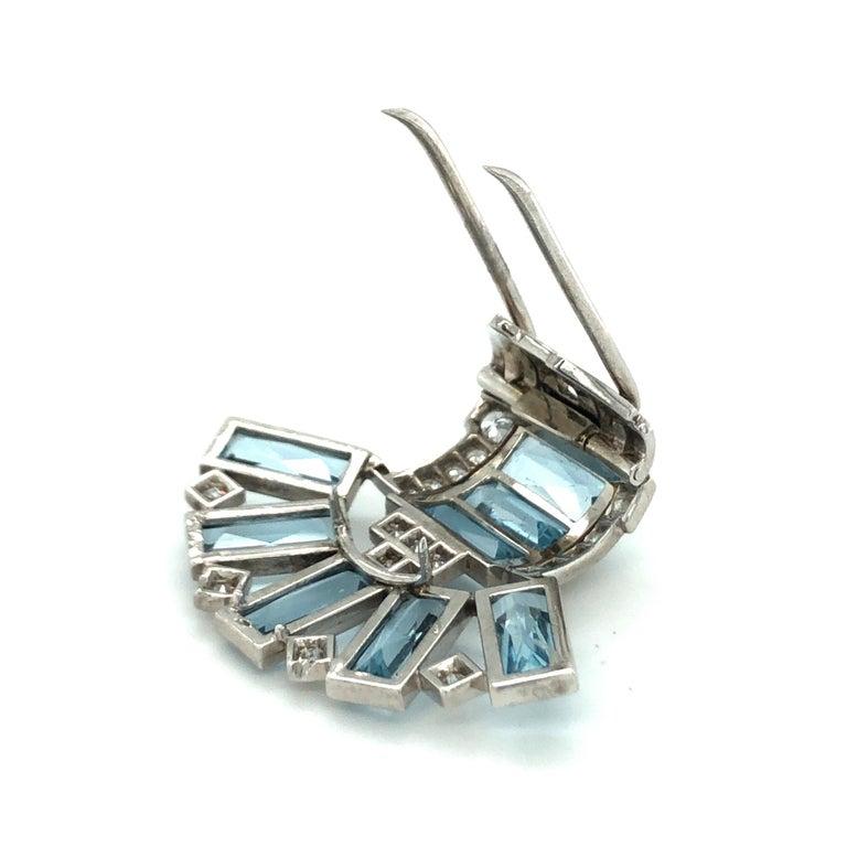 Art Deco Art Déco Aquamarine Diamond Platinum Clip by Cartier For Sale