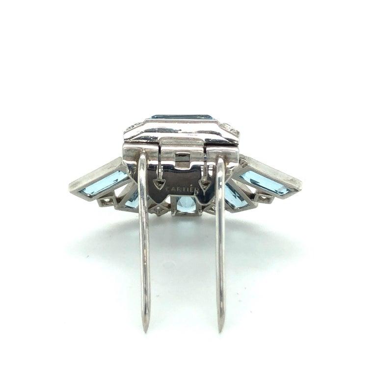 Baguette Cut Art Déco Aquamarine Diamond Platinum Clip by Cartier For Sale
