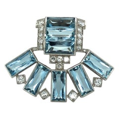 Art Déco Aquamarine Diamond Platinum Clip by Cartier