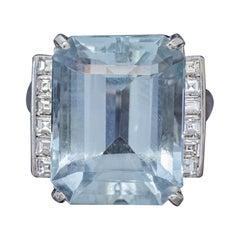 Art Deco Aquamarine Diamond Ring Platinum 12 Carat Aqua, circa 1930