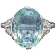 Art Deco Aquamarine Diamond Ring Platinum 6 Carat Aqua, circa 1920