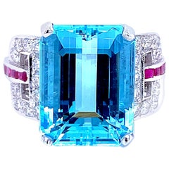 Art Deco Aquamarine Diamond Ruby Gold Ring