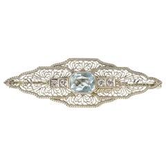 Art Deco Aquamarine Diamond White Gold Filigree Brooch
