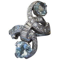 Art Deco Aquamarine Platinum Bypass Ring