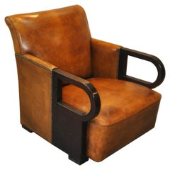 Art Deco Arm Chair with Sheep Leather