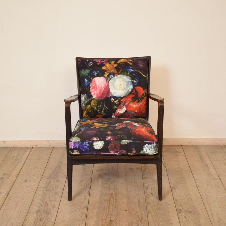 German Art Deco Armchair by Knoll Antimott with Flower Upholstery, circa 1928 For Sale