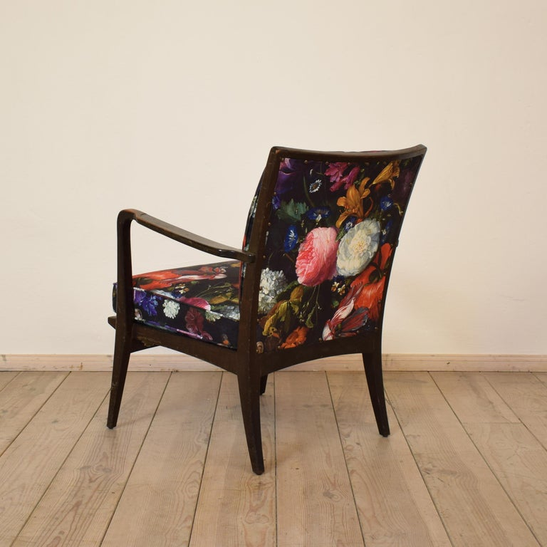 Beech Art Deco Armchair by Knoll Antimott with Flower Upholstery, circa 1928 For Sale