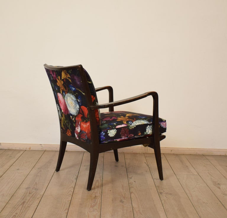 Art Deco Armchair by Knoll Antimott with Flower Upholstery, circa 1928 For Sale 2