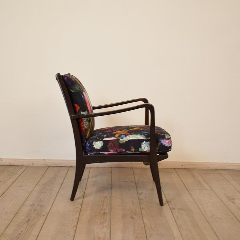 Art Deco Armchair by Knoll Antimott with Flower Upholstery, circa 1928 For Sale 3