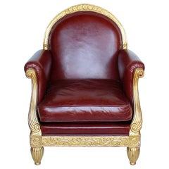 Art Deco Armchair Carved Gilt Frame Upholstered Chestnut Leather Paul Follot