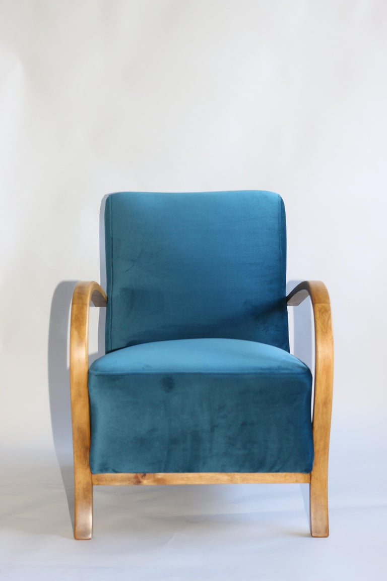 art deco armchair in blue marine velvet from 20th century for sale
