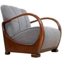 Art Deco Armchair in Elm New Upholstered Dutch Amsterdam School, 1934