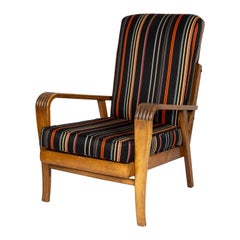 Art Deco Armchair Upholstered in Paul Smith Fabric