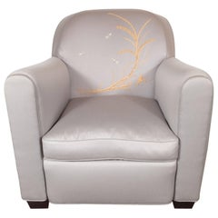 Art Deco Armchair with Metallic Silver Upholstery and Embroidered Fauna Motifs