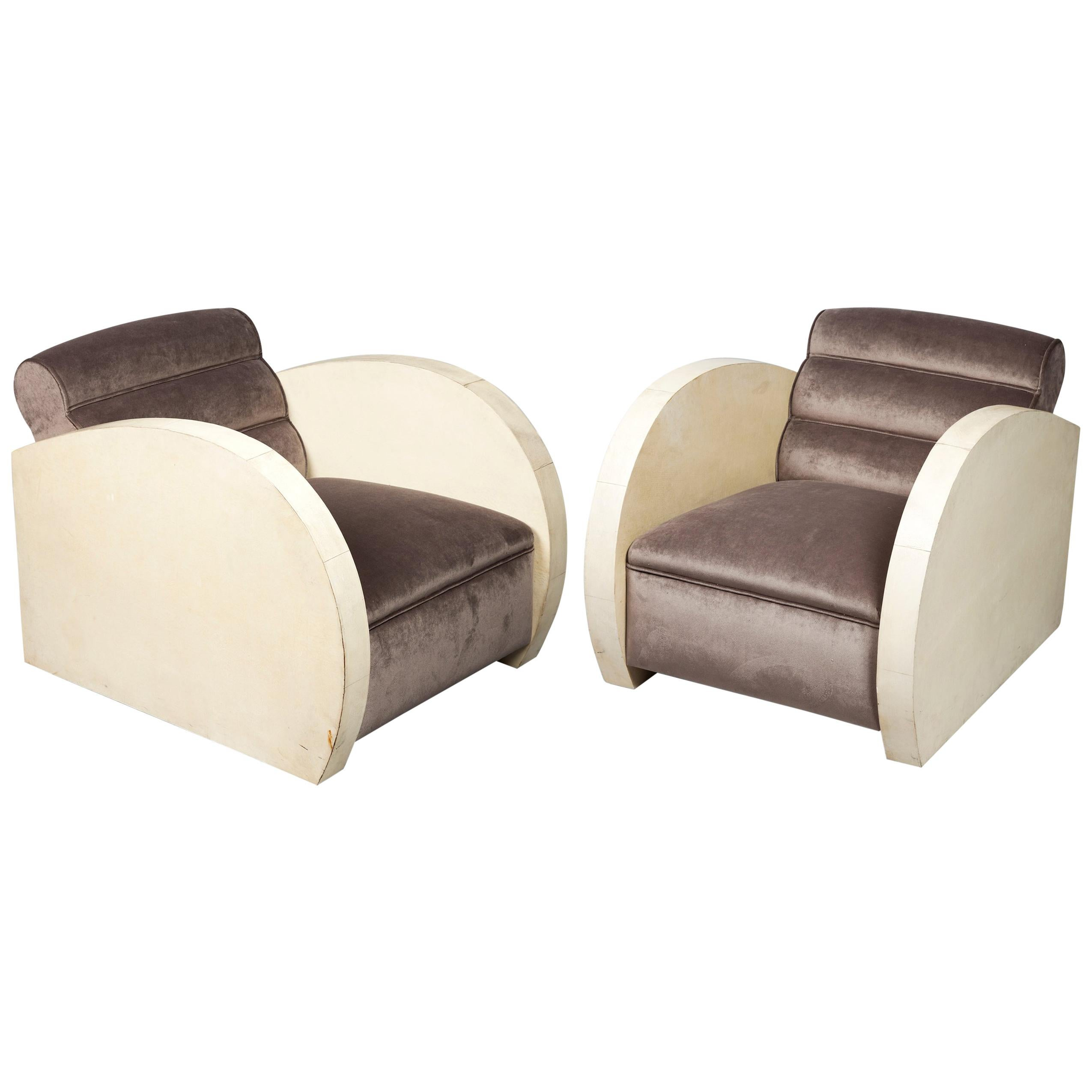Art Deco Armchairs Covered in Parchment and Upholstered in Taupe Velvet