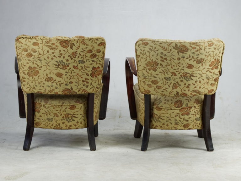 Mid-20th Century Art Deco Armchairs H 237 by Jindrich Halabala, 1930s For Sale