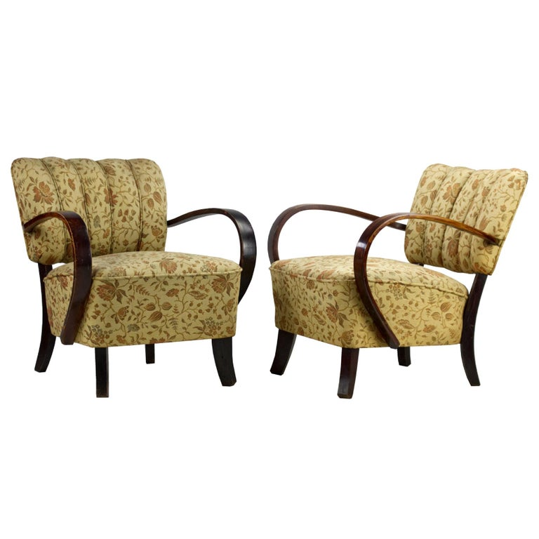 Art Deco Armchairs H 237 by Jindrich Halabala, 1930s For Sale