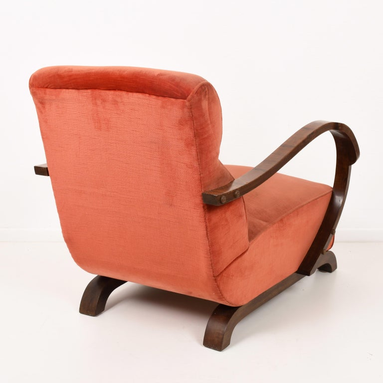Art Deco Armchairs in Walnut and Fabric and an Ottoman ...