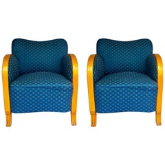 Art Deco Armchairs Pair of Early 20th Century Honey Colour Blue Swedish Original