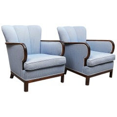 Art Deco Armchairs Swedish Fluted Back Bentwood Arms Early 20th Century Blue